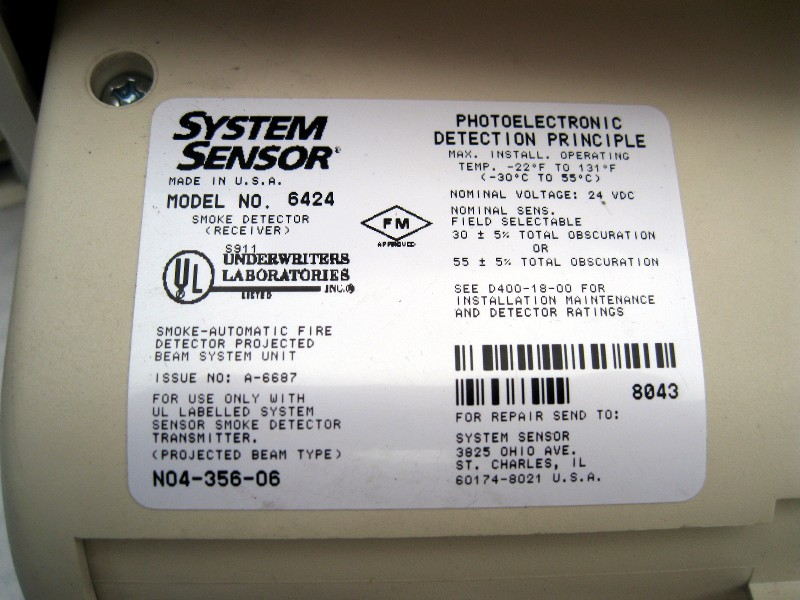 System Sensor 6424a Projected Beam Type Smoke Detector