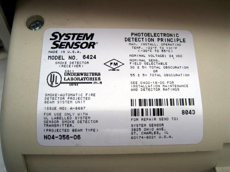 system sensor 6424a projected beam type smoke detector. Black Bedroom Furniture Sets. Home Design Ideas